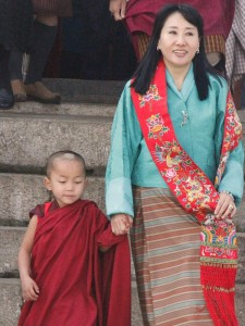 Her Majesty with monk
